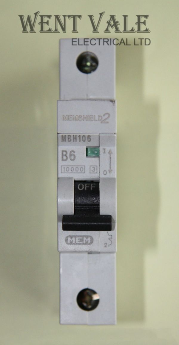 MEM Memshield 2 - MBH106 - 6a Type B Single Pole MCB Used